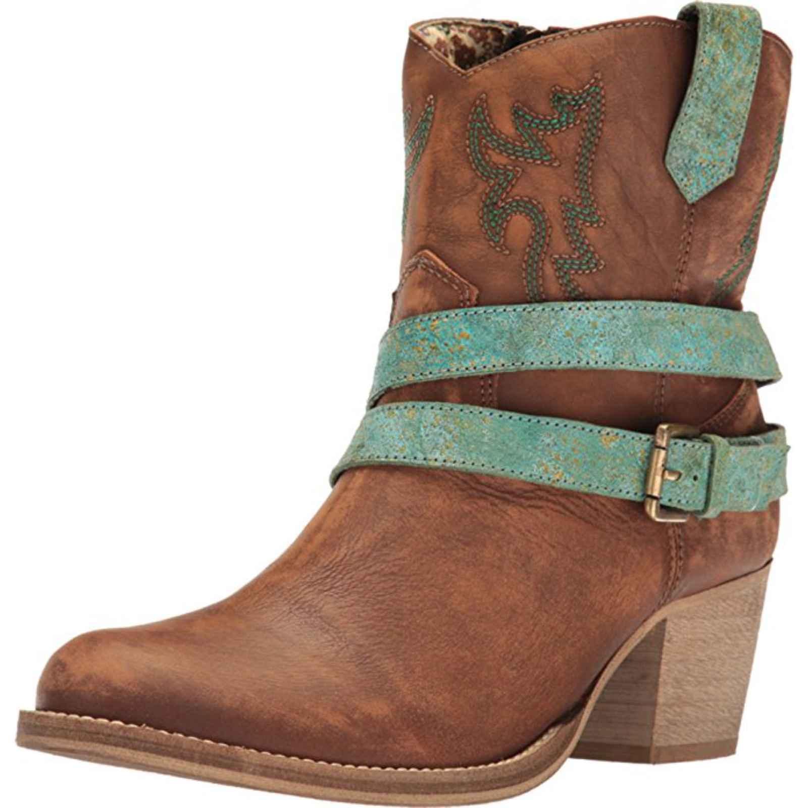 "Dingo Ladies 7"" Boot W Double Strap Round Toe Tan, DI 655 by Dingo"