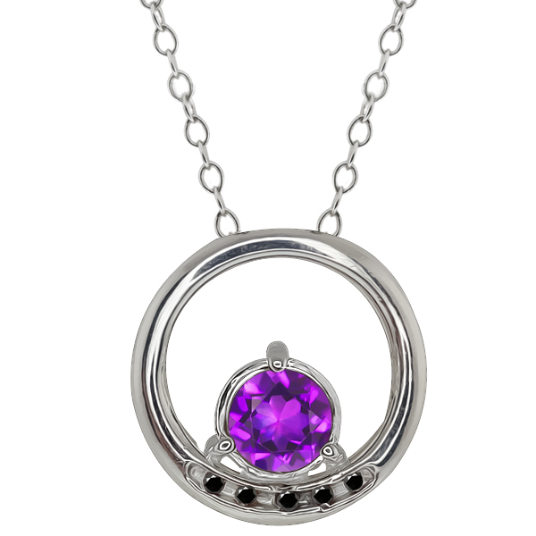0.78 Ct Round Purple Amethyst and Black Diamond Sterling Silver Pendant