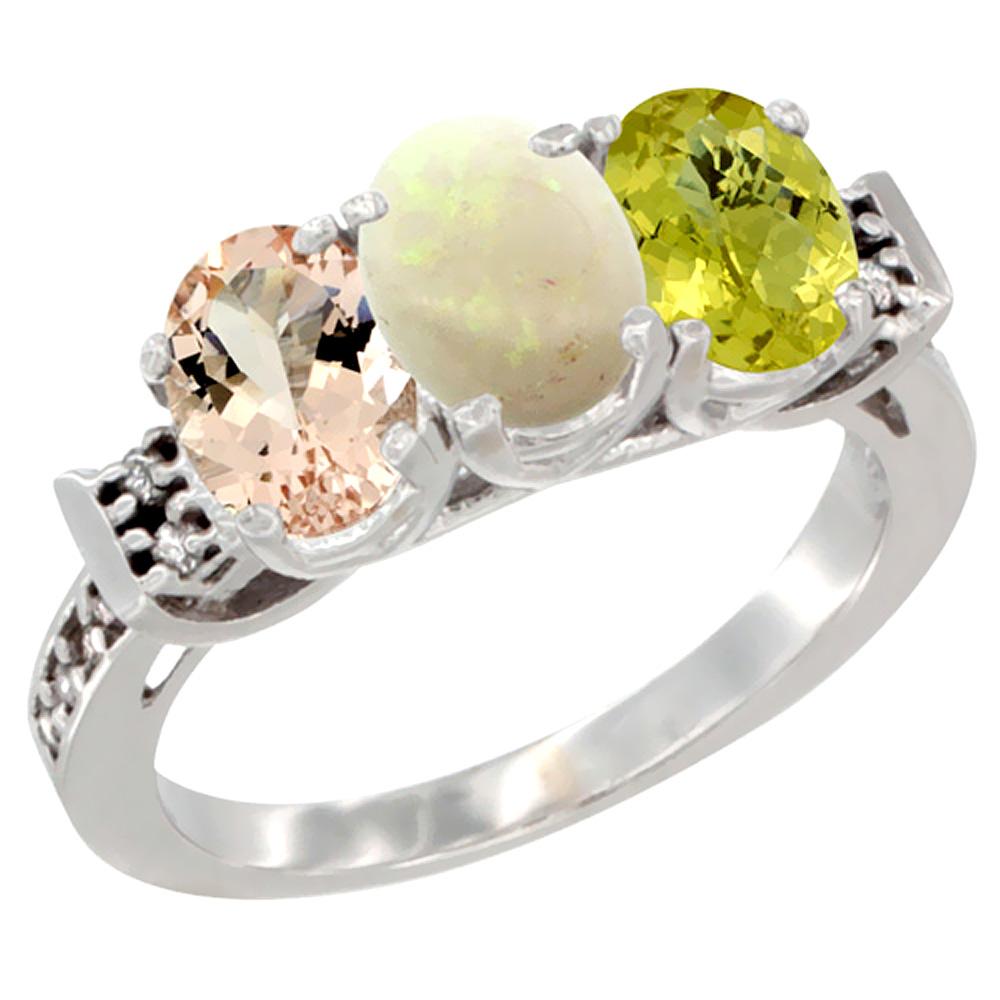 10K White Gold Natural Morganite, Opal & Lemon Quartz Ring 3-Stone Oval 7x5 mm Diamond Accent, sizes 5 - 10