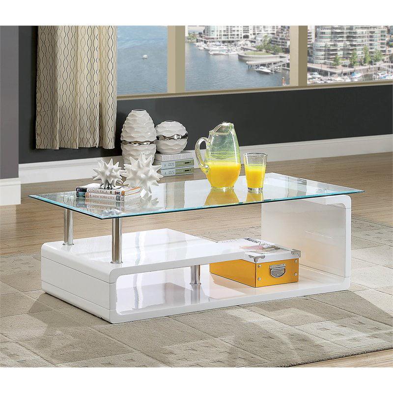 Furniture Of America Velencia Contemporary Glass Coffee Table In Glossy  White - Walmart.com - Walmart.com