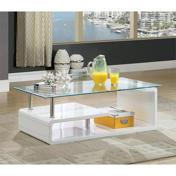 Furniture Of America Velencia Contemporary Glass Coffee Table In Glossy White Walmart Com Walmart Com
