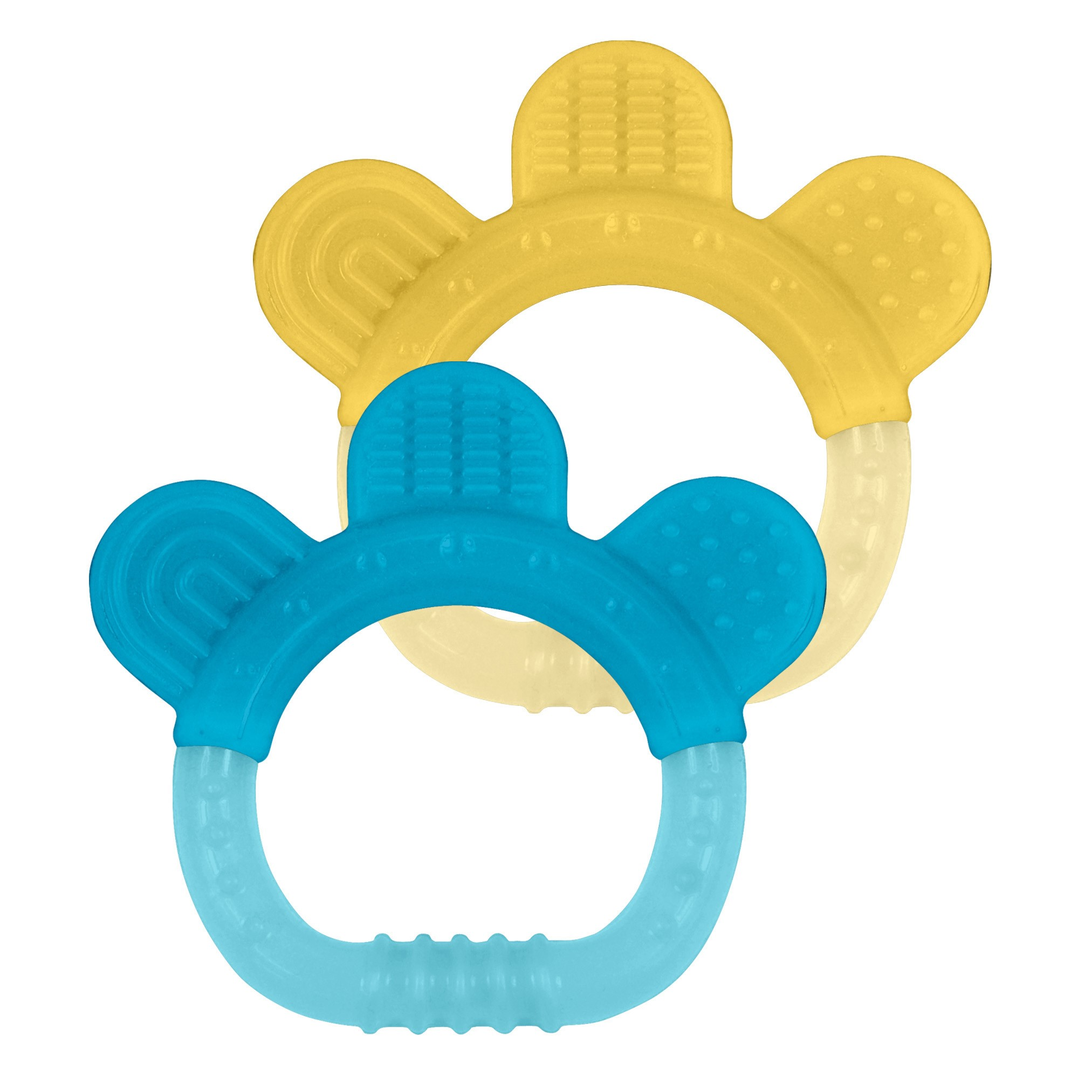 green sprouts Sili Paw Teether, Aqua and Yellow, 2 Pack