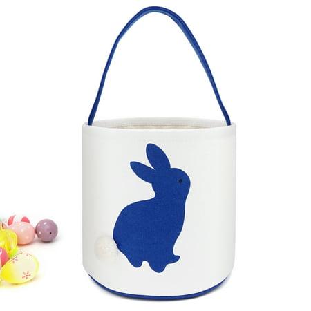 Cylinder Bunny Ear Easter Basket, Dual Layer Canvas Bag With Bunny Design for Easter Egg Hunt Basket Carrying Eggs Gifts for Kids Holding Toys Books School Project Lunch Box-Cylinder Bag- Dark Blue](Plastic Easter Basket)