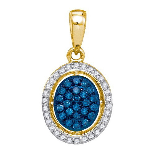 14K Yellow Gold 0.21ctw Fancy Decorated Blue Pave Diamond Fashion Oval Pendant