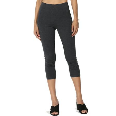 TheMogan Women's S~3X Cotton Jersey High Waist Mid Calf Length Capri Leggings Capri Print Leggings