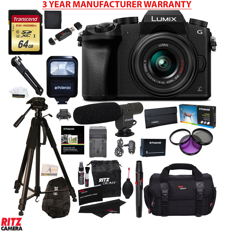 Panasonic G7KK Mirrorless Camera 14-42 Lens Transcend 64GB MANUFACTURER WARRANTY