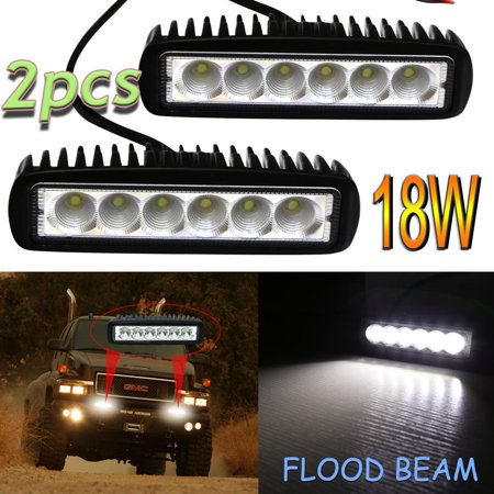 GZYF 2PCS 18W LED Light Bar Offroad Flood LED Work Lamp Pods Single Beam HID Style White Light.For Truck Car Boat SUV 4WD UTE 4X4 12V