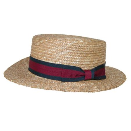 Straw 2.5 Inch Brim Boater Hat with Navy - Boater Hats