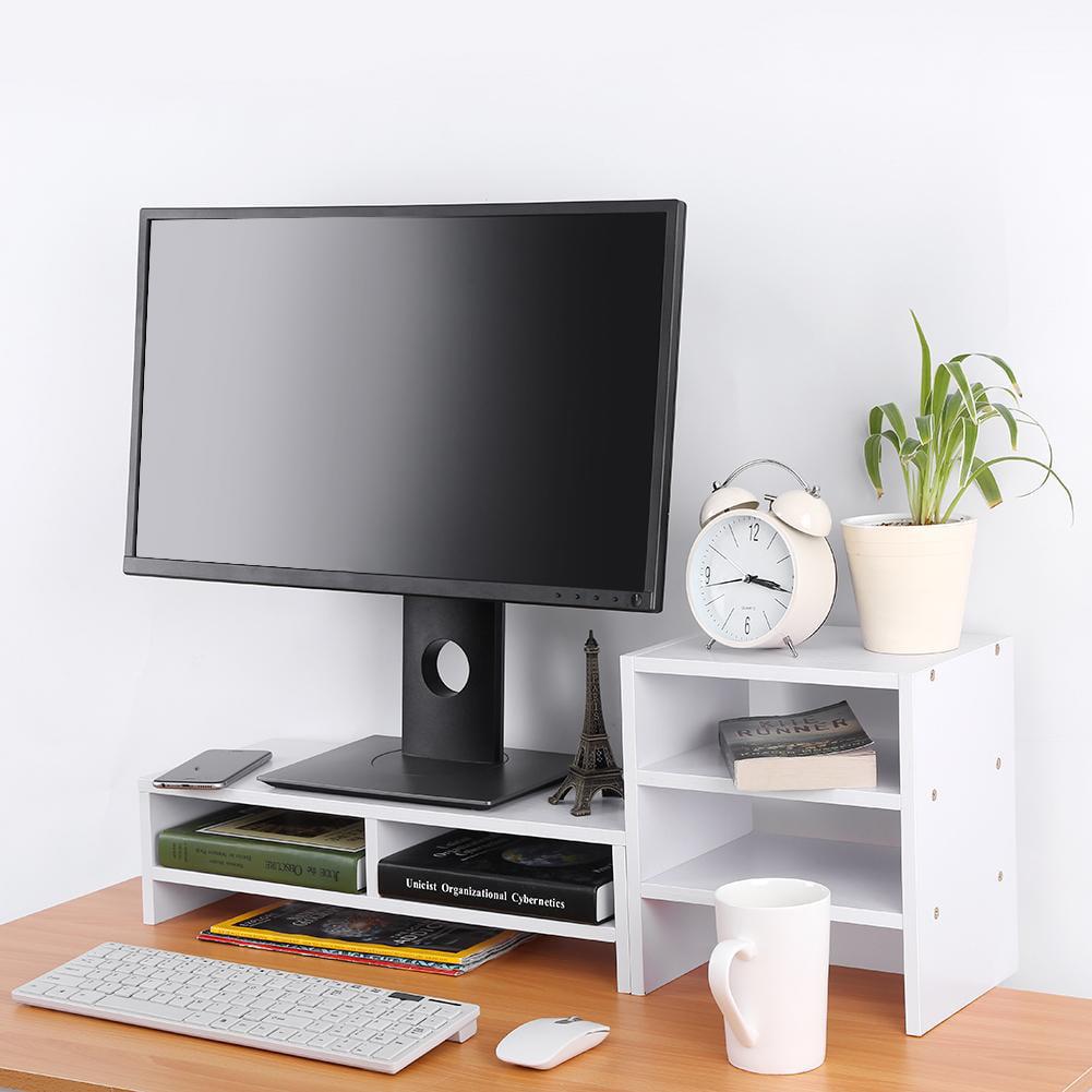 WALFRONT Computer Laptop Monitor Riser Stand Desktop Wooden Storage Organizer + 3-Layer Shelf, Storage Riser, Monitor Stand