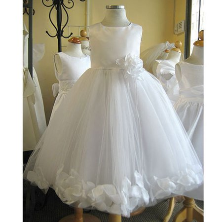 Little Girls White Petal Flower Girl Dress 4](Little Girls White Dresses)