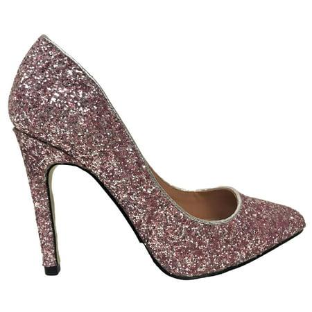 monica-100 pointed pointy toe stiletto high heel slip on glitter sparkle pump (Pink High Heel)