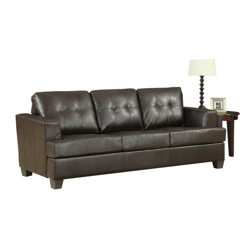 ACME Platinum Tufted Sleeper Sofa in Brown Bonded Leather