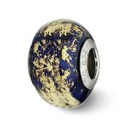 Dark Blue w/Gold Foil Ceramic Bead & Sterling Silver Charm, 14mm