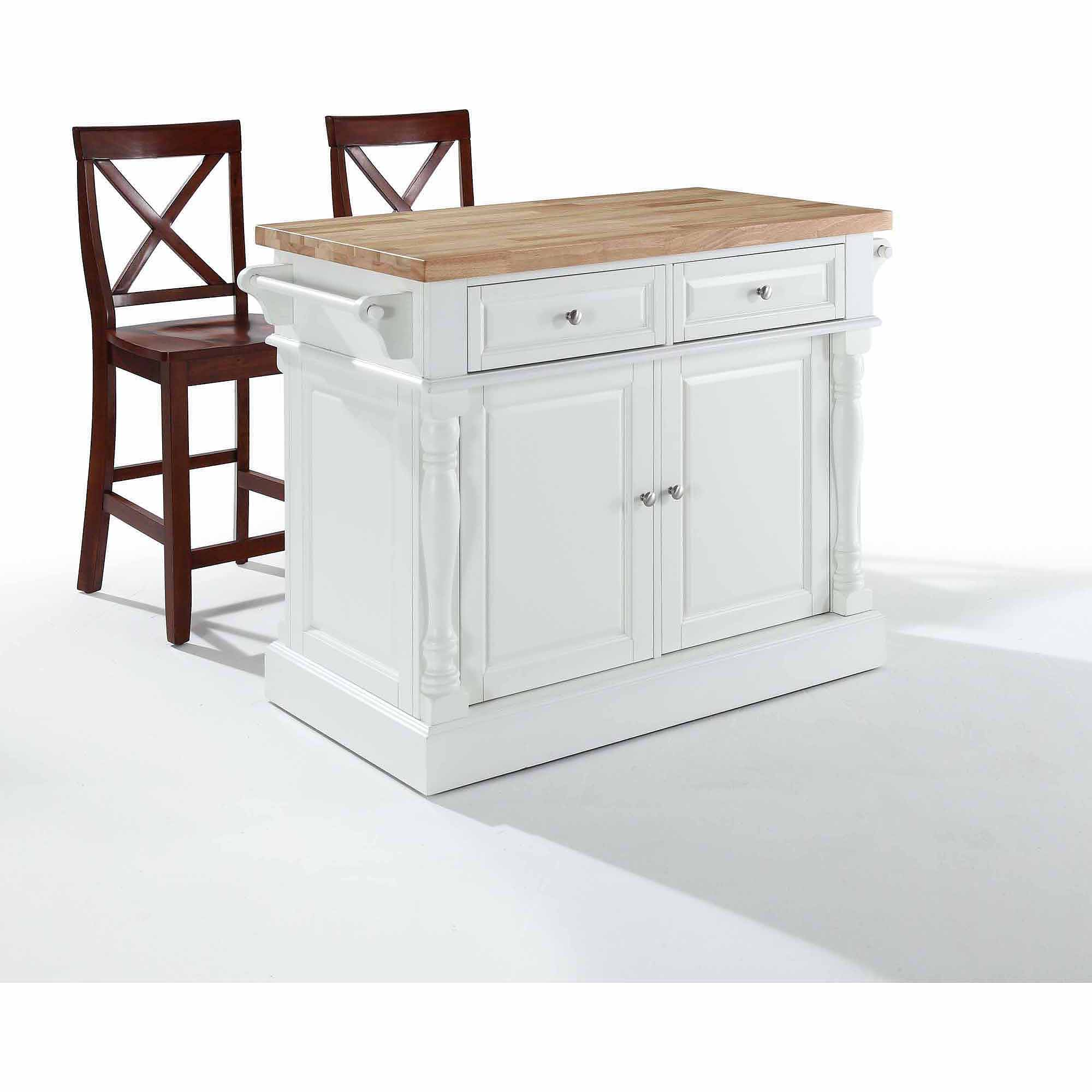 "crosley furniture butcher block top kitchen island with 24"" x-back"