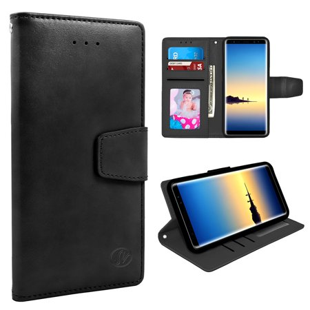 Samsung Galaxy Note 8 Folio Leather Wallet Pouch Case Cover Black