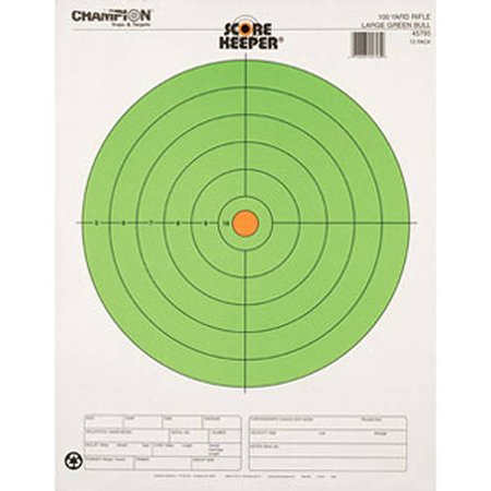 Champion Traps and Targets 100 Yard Large Green Bullseye, 12-Pack