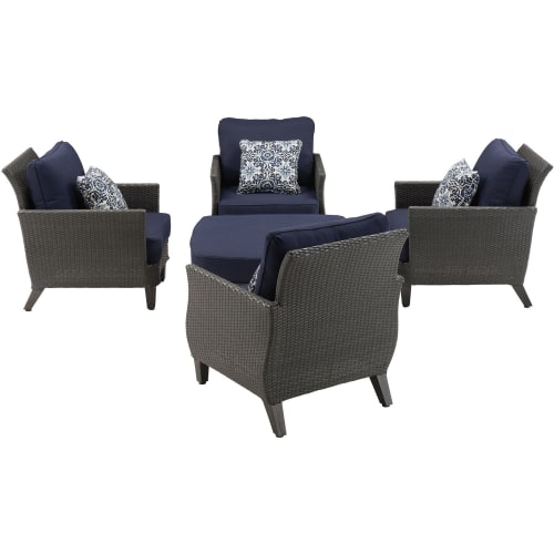 Hanover Savannah 5 Piece Wicker Patio Chat Set by Hanover