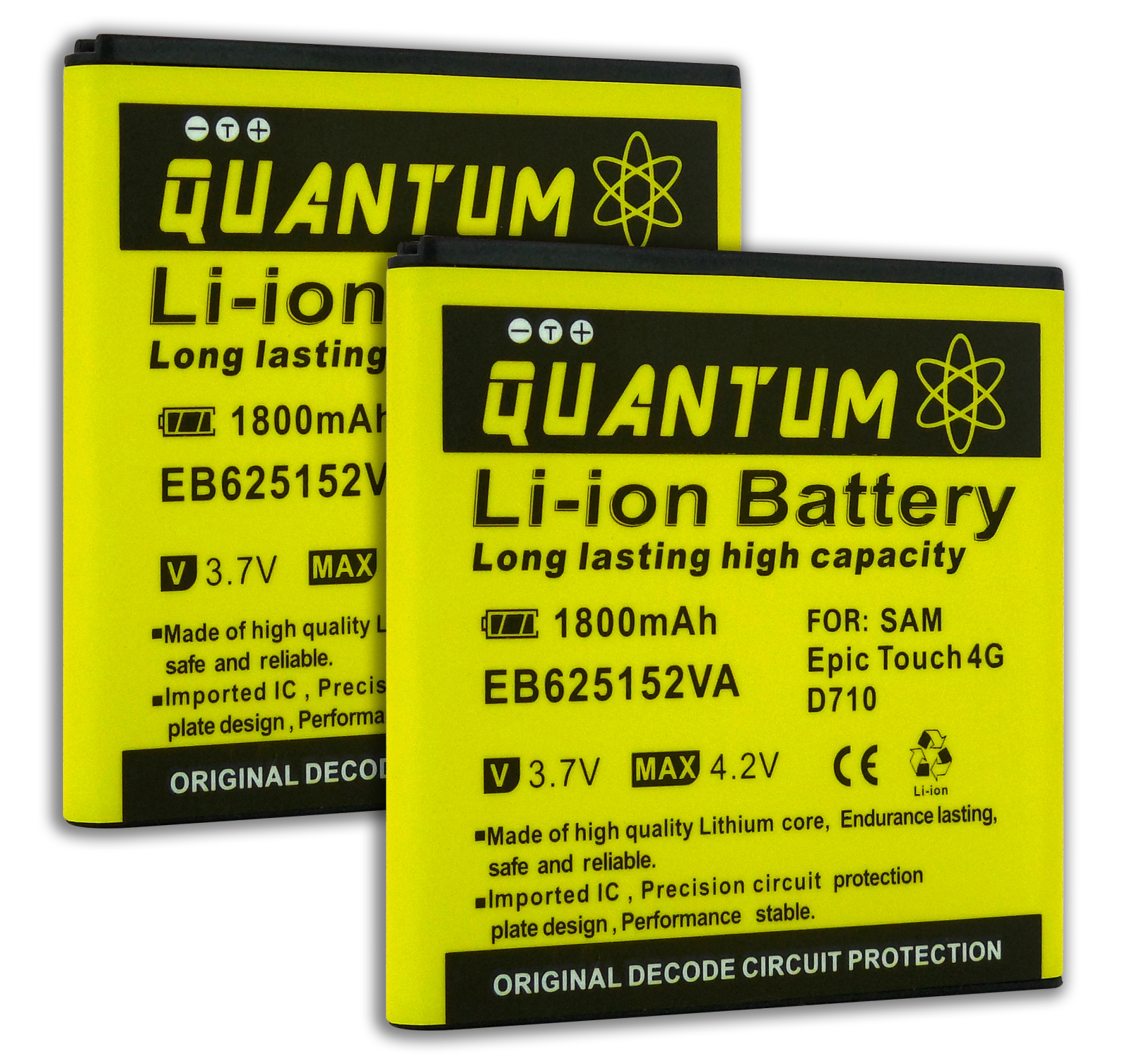 QUANTUM 2x 1,800 mAh Batteries for Galaxy S2 Epic 4G Touch SPH-D710 (Sprint, Boost Mobile )12 MONTH WARRANTY