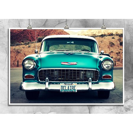 1955 Chevy Bel Air | Classic Cars | Antique Chevrolet | Gear Heads | Car Show | Wall Decore | 18 By 12 Premium 100lb Gloss Poster Chevrolet Bel Air Headliner