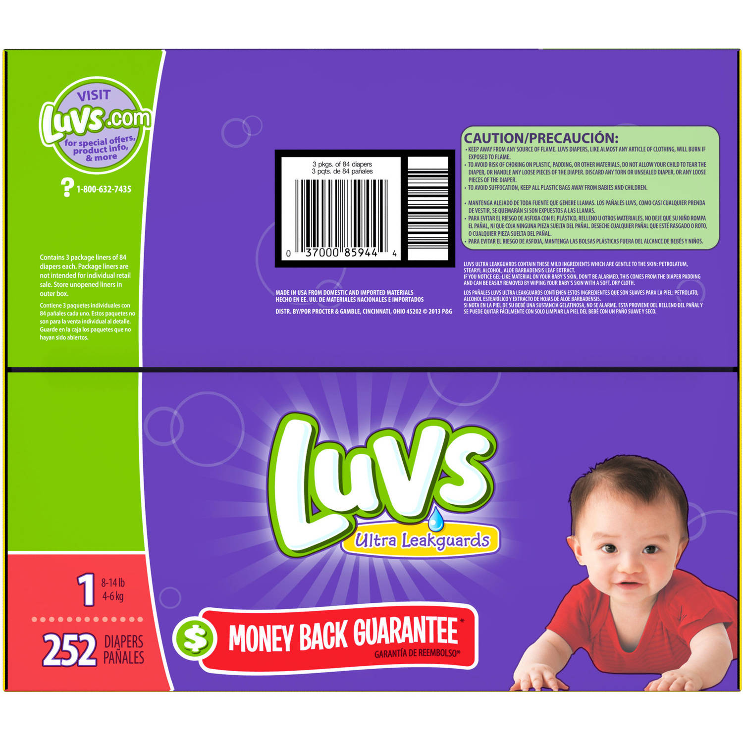 Luvs Ultra Leakguards Diapers, Size 1, 252 Diapers - Walmart.com