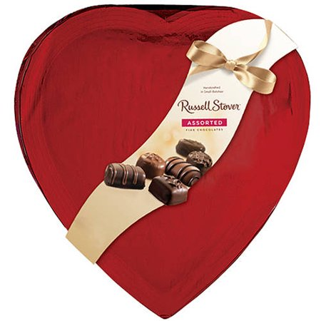 Russell Stover Assorted Fine Chocolates Wrapped Heart In Red Cellophane, 20 oz