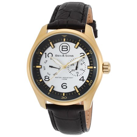 Ben & Sons 10010-AN-02S Marshall Multi-Function Black Leathe (Ben And Sons Mens Watch)