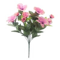 "OakRidge Silk Petunia Bush – Artificial Flowers Outdoor Décor – Pink, 15"" High"