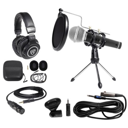 samson pc podcasting podcast streaming bundle w microphone stand headphones. Black Bedroom Furniture Sets. Home Design Ideas