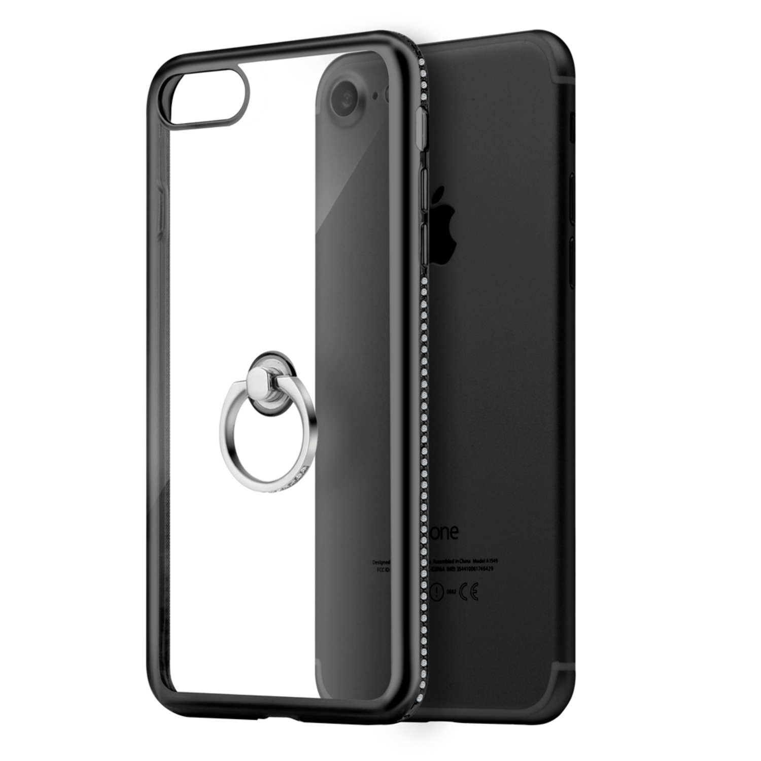 iPhone 8 Case, iPhone 7 Case, by Insten Diamond Jewel Transparent TPU Ring Case with Chrome Bling Frame For Apple iPhone 8 / iPhone 7 - Clear/Black