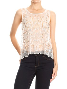 fab517da20c Product Image Anna-Kaci Sexy Womens Lace Sheer Beaded Embroidered Sequin  Mesh Sleeveless Tank Tops