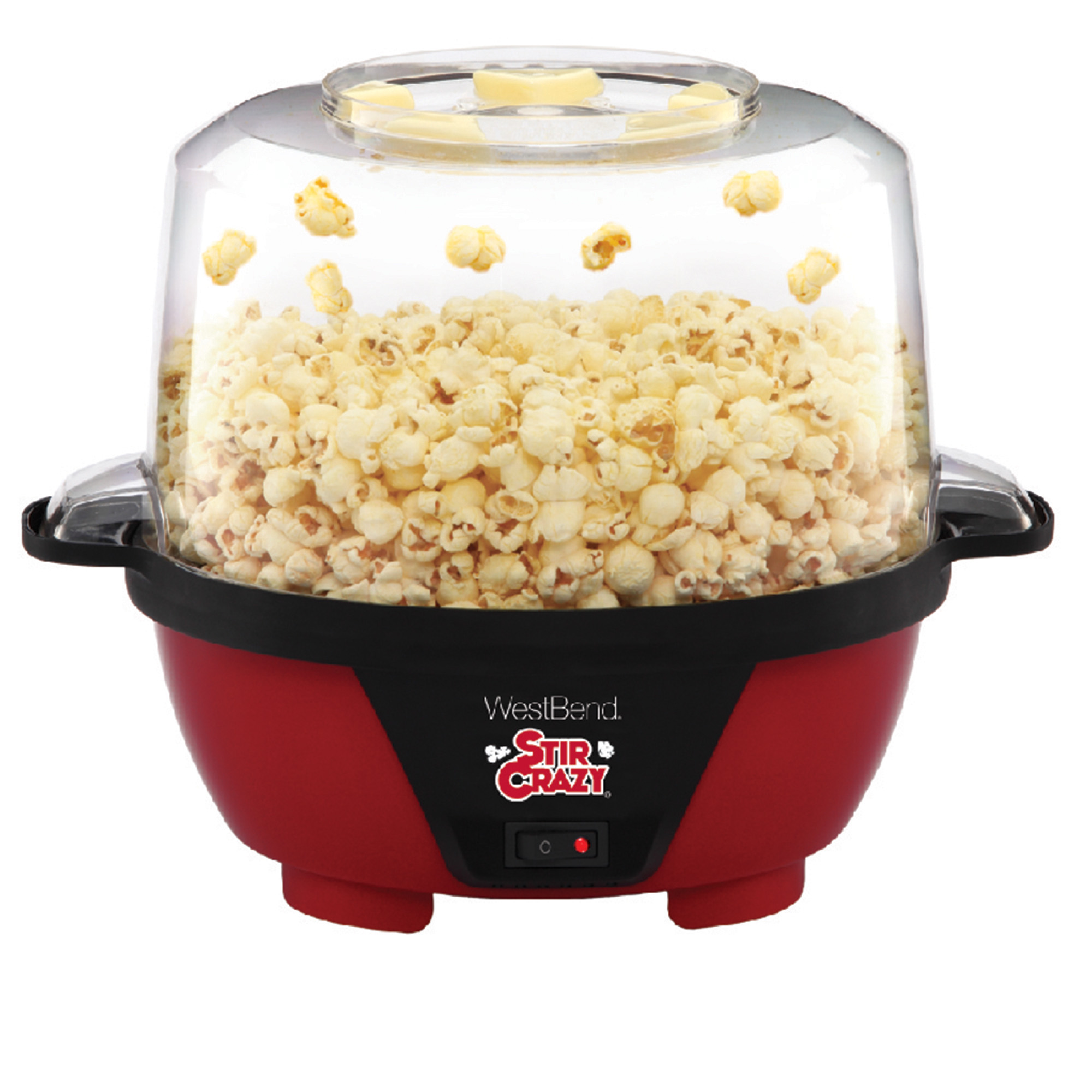 West Bend 82505 Stir Crazy Electric Popcorn Machine, Red