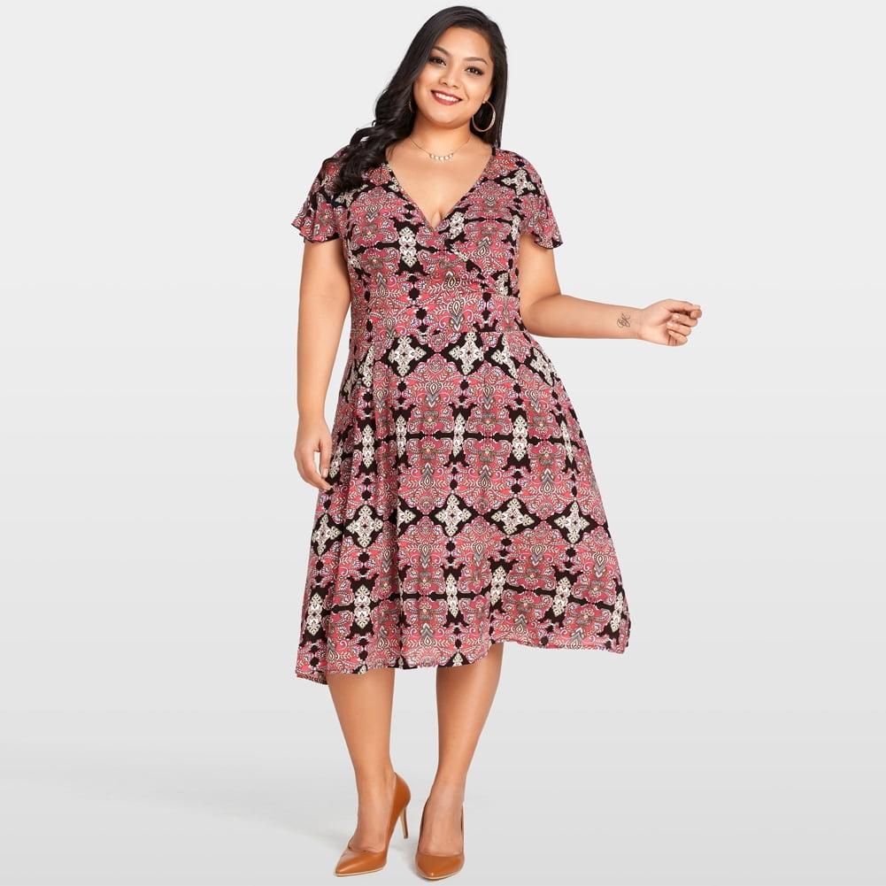 Plus Size XL-3XL Floral Print Slim Long Dress Women O-neck Short Sleeve Dresses