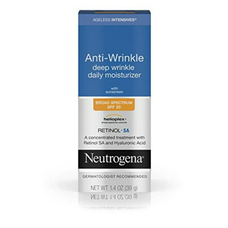 neutrogena ageless intensives anti wrinkle cream - facial moisturizer with spf 20 sunscreen, retinol and hyaluronic acid to fight signs of aging, retinol, hyaluronic acid, glycerin 1.4