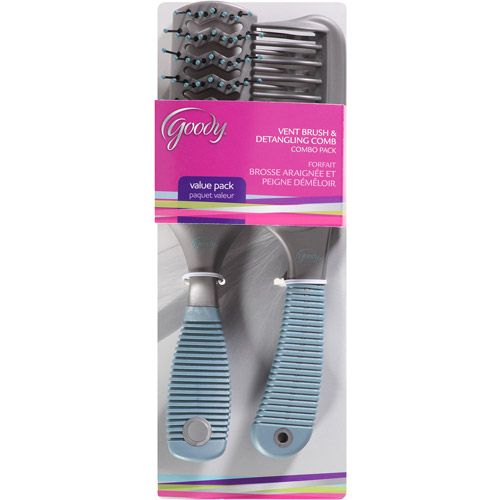 Goody Vent Brush and Detangling Comb Combo Pack, 2 count