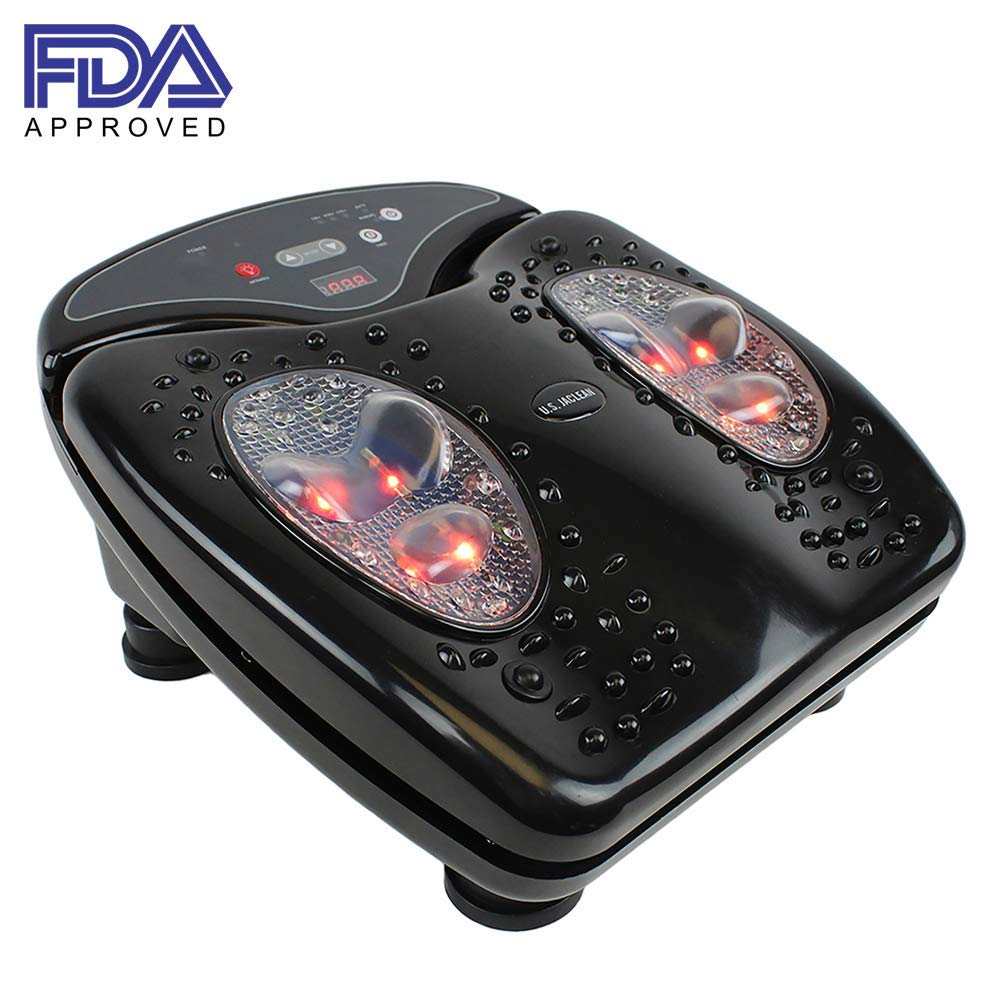 U.S. Jaclean Foot Massager Vibration for Blood Circulation Booster with Infrared Heat Therapy FootVibe Pro USJ-871