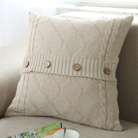 - Iuhan Knitting Button Fashion Throw Pillow Cases Cafe Sofa Cushion Cover Home Decor
