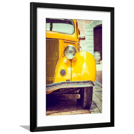 Headlight Lamp Vintage Car - Vintage Filter Effect Framed Print Wall Art By