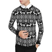 Men Pullover Round Neck Geometric Deer Pattern Casual Knit Shirt Black M