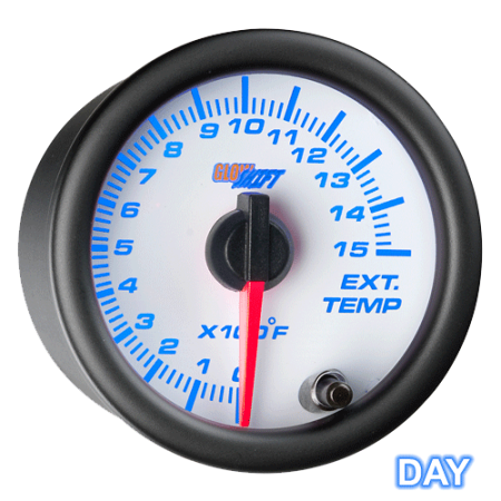 GlowShift White 7 Color 1500 Exhaust Gas Temperature EGT Pyrometer Gauge