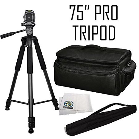 75-inch Professional Series Tripod w/ 3-way Head + Rugged Series Water Resistant, Adjustable Shoulder Strap, Heavy Duty, Shock Proof Pro Camcorder Carrying Case for Sony Hvr-v1u Hdv, Hvr-z5u, Hvr-z7u, ()