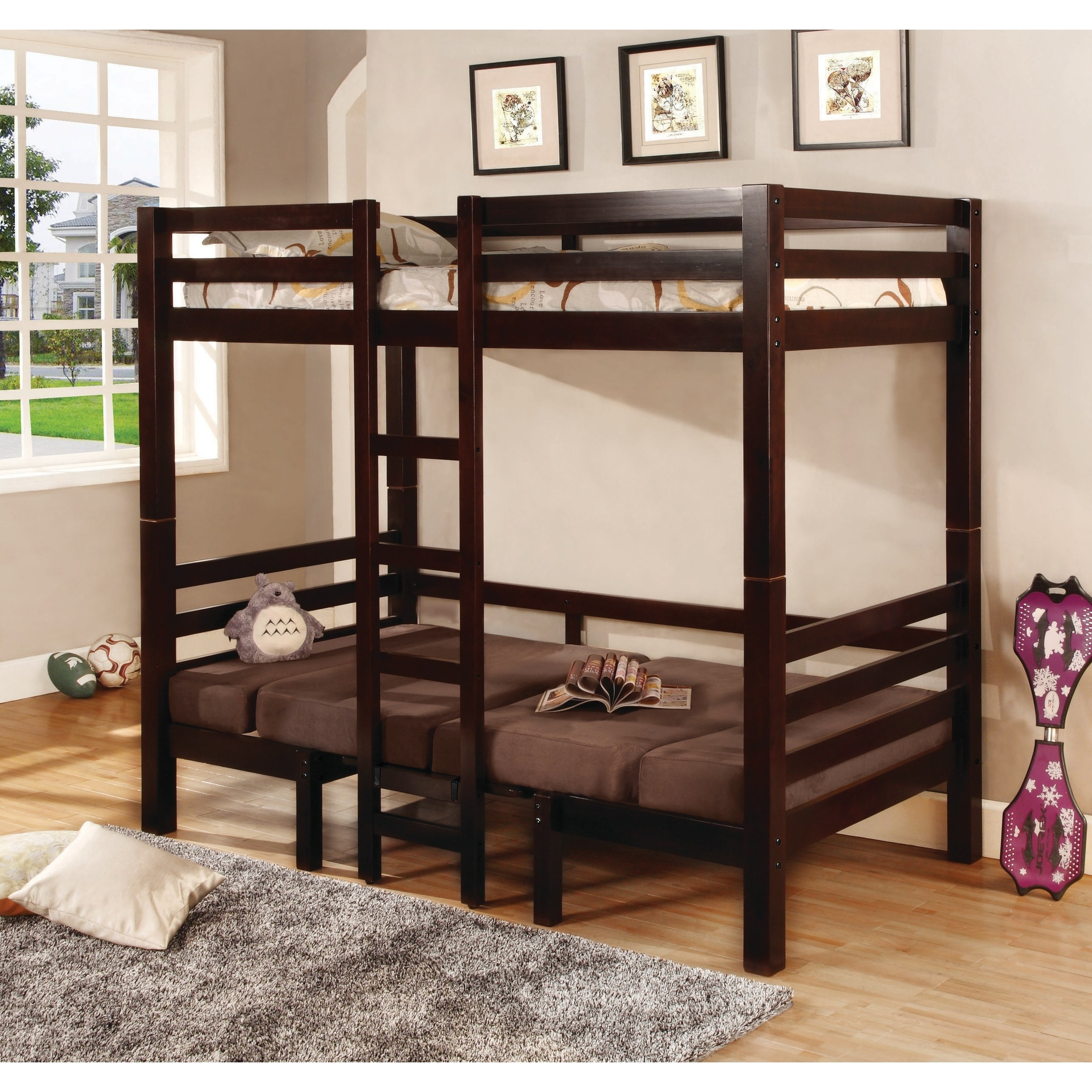 Coaster Joaquin convertible loft bed, twin over twin.  Medium brown finish with microfiber uphostered fabric in brown.