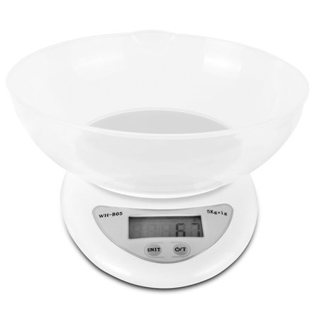 Spring Balance Scale - Digital Kitchen Scale Accuracy Food Diet Weight Balance with Plastic Platform & LCD Display   11 lb/5 kg (Batteries Included)