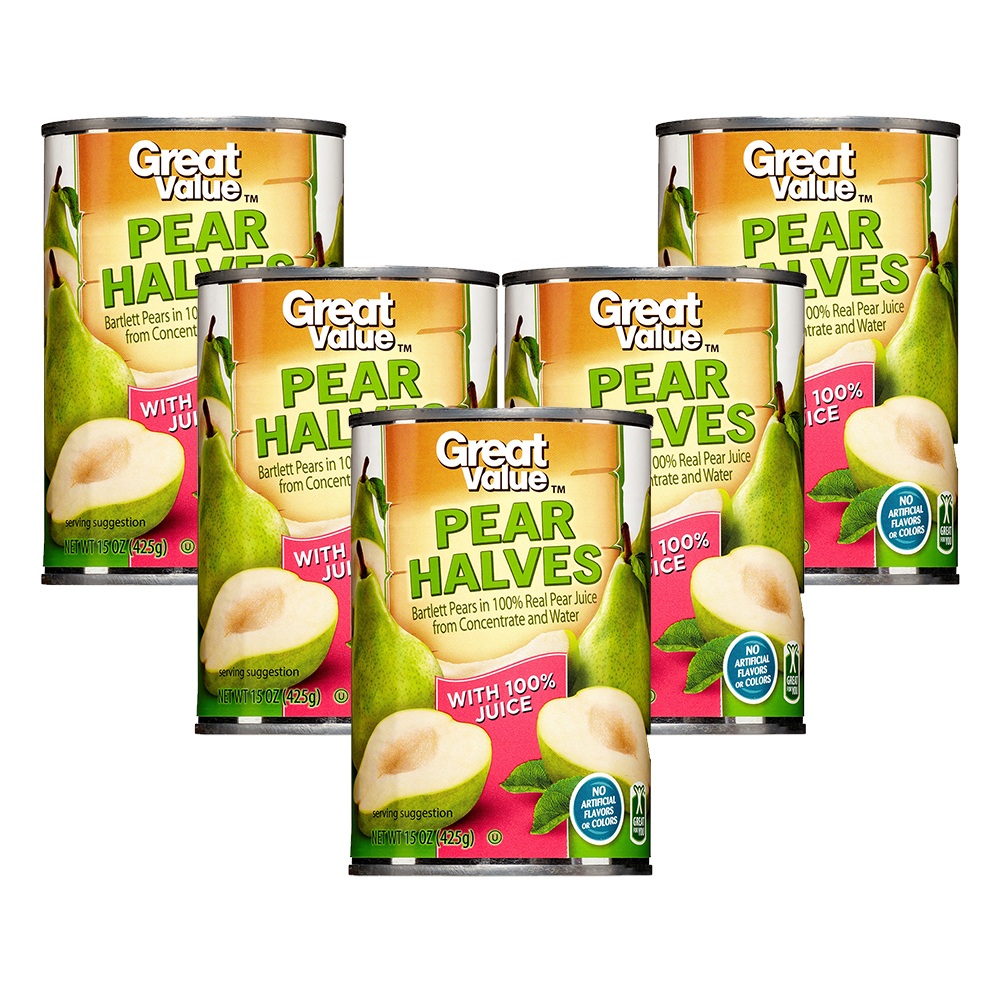 (5 Pack) Great Value Pear in 100% Juice, 15 Fl Oz