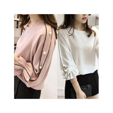 Women Plus Size Fashion Round Collar Long Sleeve Blouse Tops