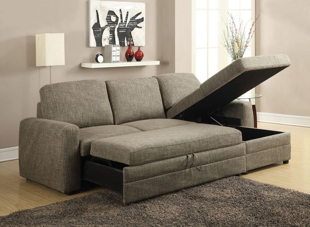 Simple Relax 1PerfectChoice Derwyn Light Brown Storage Sleeper Sectional  Sofa Set