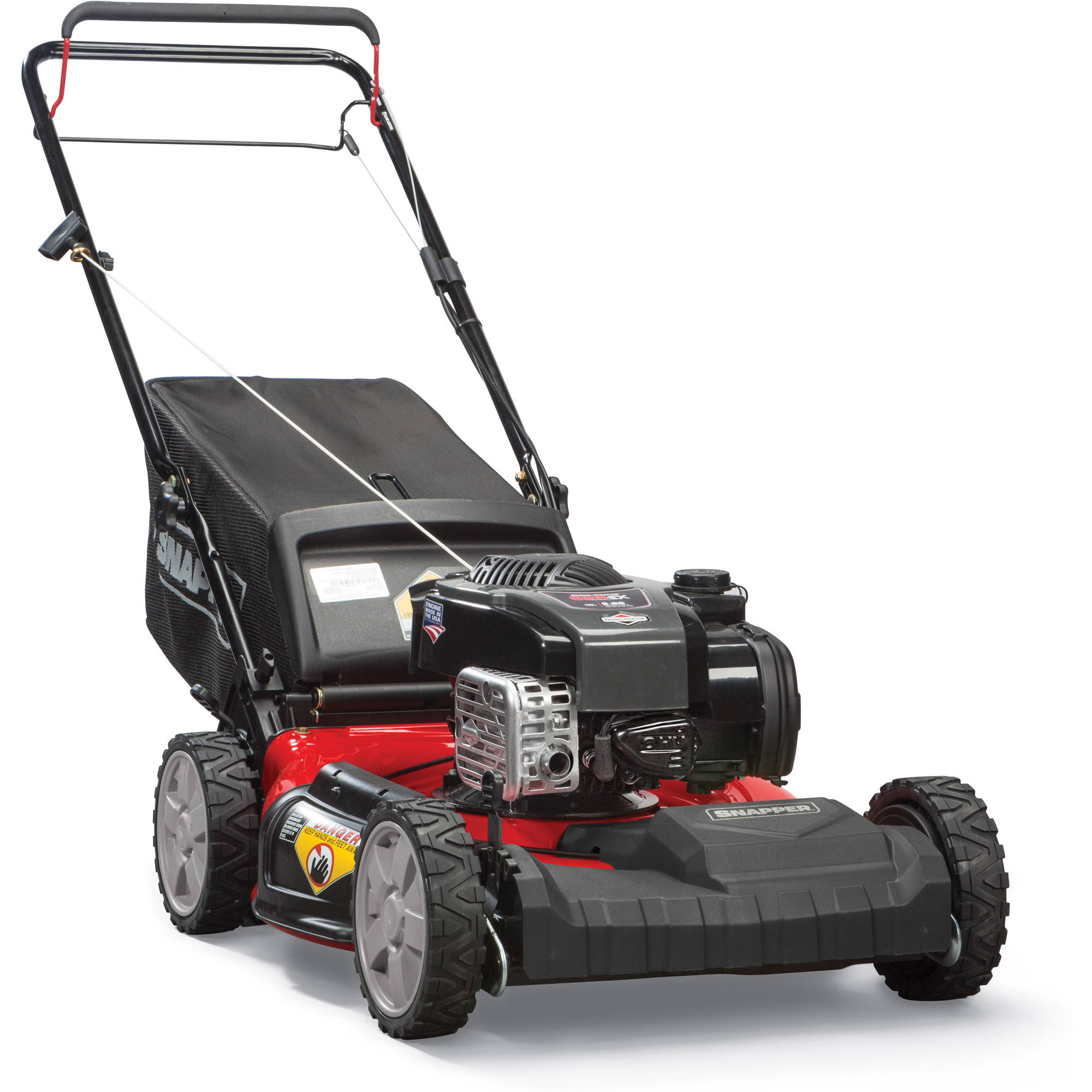 "Snapper 21"" Self Propelled Gas Mower with Side Discharge, Mulching, Rear Bag"