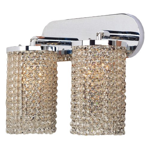 "Prism Collection 2 Light Chrome Finish and Clear Crystal Wall Sconce Vanity Light 15"" W x 10"" H Large"