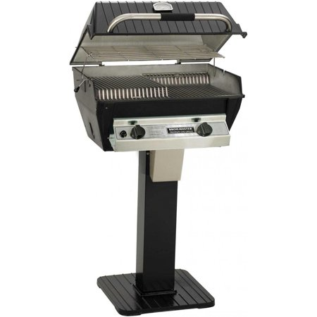 Combination Gas Grill - Broilmaster R3BN Infrared Combination Natural Gas Grill On Black Patio Post