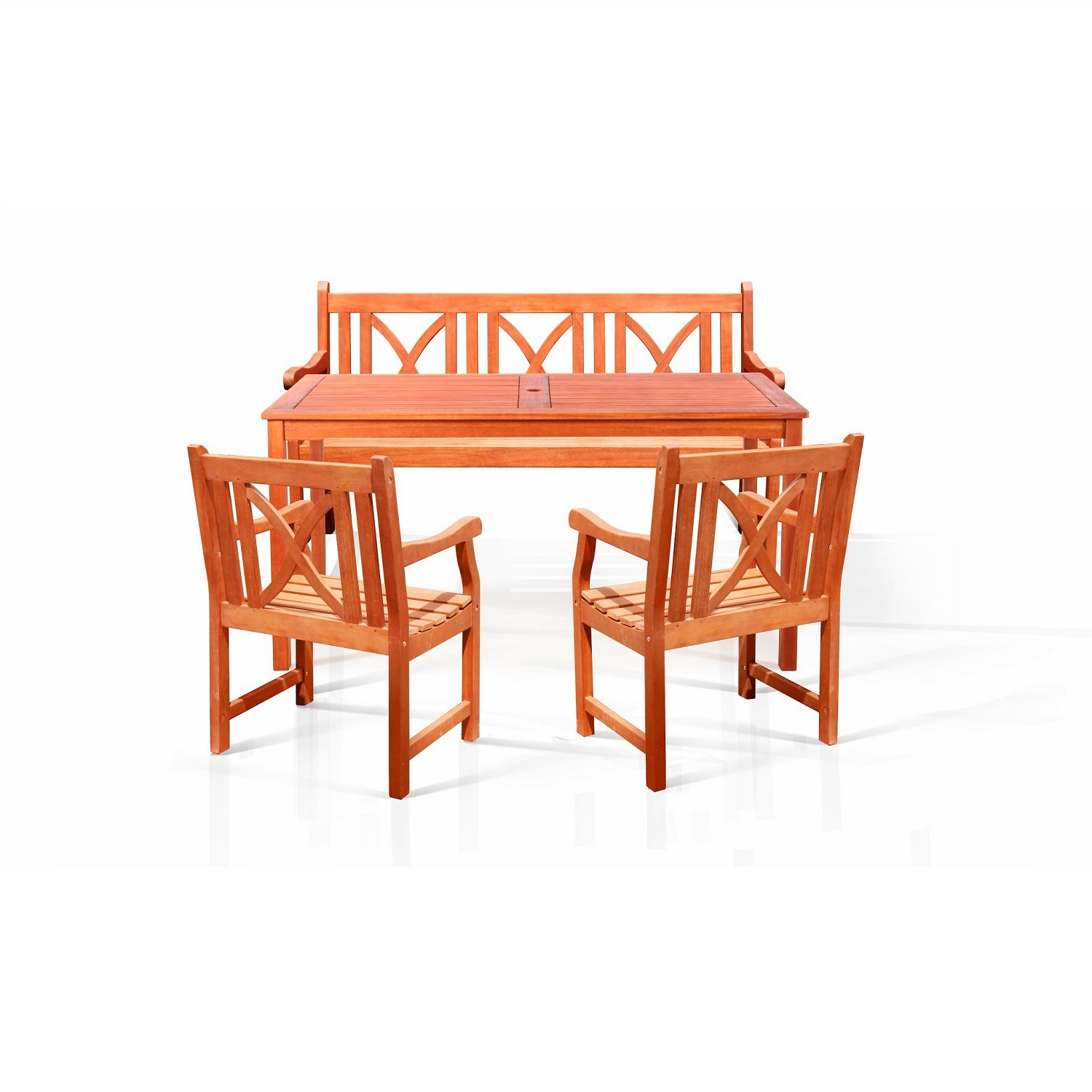4-Piece Outdoor Eucalyptus Dining Room Set by DVG