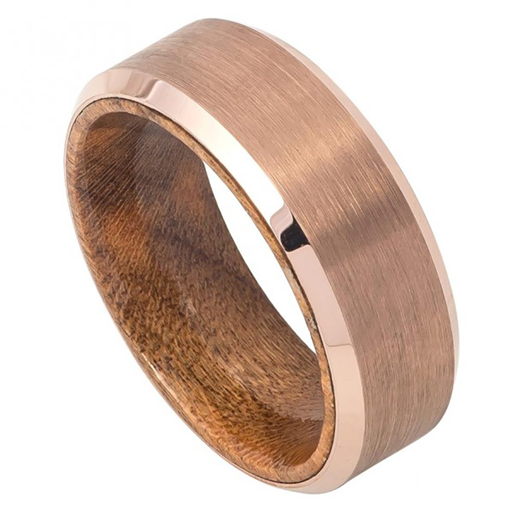 Tj Co 8mm Tungsten Rose Gold Ip Plated Brushed Finish Beveled